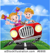Vector Illustration of a Blond White Boy Driving a Girl in a Red Convertible Car, Catching Air on a Rural Road by AtStockIllustration