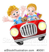 Vector Illustration of a Blond White Girl Driving a Boy in a Red Convertible Car, Catching Air by AtStockIllustration
