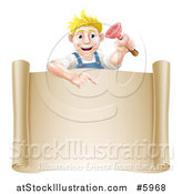 Vector Illustration of a Blond White Male Plumber Holding a Plunger and Pointing down at a Scroll Sign by AtStockIllustration