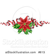 Vector Illustration of a Blooming Red Poinsettia Flower with Holly and Ribbons by AtStockIllustration