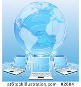 Vector Illustration of a Blue 3d Globe Connected to a Network of Laptop Computers by AtStockIllustration