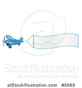 Vector Illustration of a Blue Airplane with a Trailing Blank Banner by AtStockIllustration