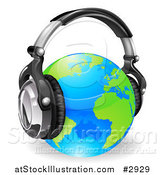 Vector Illustration of a Blue and Green Globe Wearing 3d Noise Canceling Music Headphones by AtStockIllustration