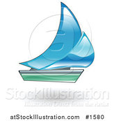 Vector Illustration of a Blue and Green Sailboat by AtStockIllustration
