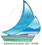 Vector Illustration of a Blue and Green Sailing Boat by AtStockIllustration