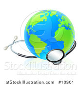 Vector Illustration of a Blue and Green World Earth Globe with a Stethoscope by AtStockIllustration