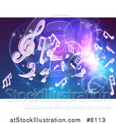 Vector Illustration of a Blue and Purple Background of Bright Neon Lights, Flares and Floating Music Notes by AtStockIllustration