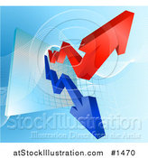 Vector Illustration of a Blue and Red Profit and Loss Arrows on a Business Graph by AtStockIllustration