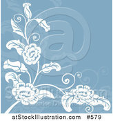 Vector Illustration of a Blue and White Floral Background by AtStockIllustration