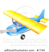 Vector Illustration of a Blue and Yellow Airplane in Flight by AtStockIllustration