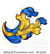 Vector Illustration of a Blue and Yellow Vintage Heraldry Floral Design Element by AtStockIllustration