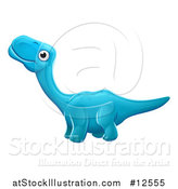 Vector Illustration of a Blue Apatosaurus Dino by AtStockIllustration