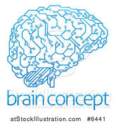 Vector Illustration of a Blue Artificial Intelligence Circuit Board Brain over Sample Text by AtStockIllustration