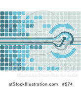 Vector Illustration of a Blue Background of Tiles and Arrows by AtStockIllustration