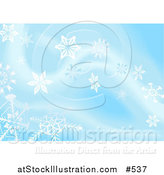 Vector Illustration of a Blue Background with White Snowflakes by AtStockIllustration