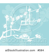 Vector Illustration of a Blue Background with White Spring Blossoms by AtStockIllustration