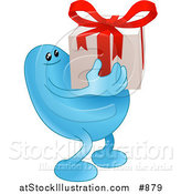 Vector Illustration of a Blue Bean Character Carrying a Nicely Wrapped Christmas or Birthday Gift with a Red Bow and Ribbon by AtStockIllustration