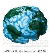 Vector Illustration of a Blue Brain Globe with Green Continents by AtStockIllustration