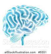 Vector Illustration of a Blue Brain Glowing by AtStockIllustration