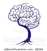 Vector Illustration of a Blue Brain Tree by AtStockIllustration