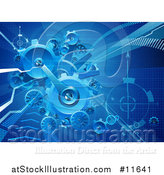 Vector Illustration of a Blue Business Background of Gears and Arrows by AtStockIllustration