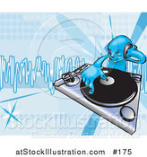 Vector Illustration of a Blue DJ Mixing Records on a Turntable by AtStockIllustration