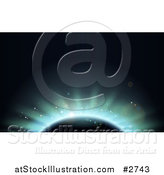 Vector Illustration of a Blue Eclipse Lighting Behind Earth by AtStockIllustration