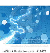 Vector Illustration of a Blue Electric Lightning Through a Honecomb Hexagonal Background by AtStockIllustration