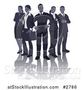 Vector Illustration of a Blue Faceless Business Team and Reflection Standing in V Formation by AtStockIllustration