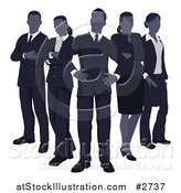 Vector Illustration of a Blue Faceless Business Team Standing in V Formation by AtStockIllustration