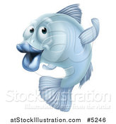 Vector Illustration of a Blue Fish Gesturing Which Way to Go by AtStockIllustration