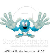 Vector Illustration of a Blue Furry Monster Reaching His Arms out to the Viewer by AtStockIllustration