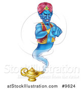 Vector Illustration of a Blue Genie Emerging from His Lamp and Pointing at You by AtStockIllustration