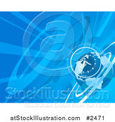 Vector Illustration of a Blue Globe and Clock Background with Rays by AtStockIllustration