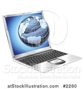 Vector Illustration of a Blue Globe Emerging from a Laptop by AtStockIllustration