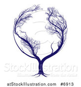 Vector Illustration of a Blue Globe Tree with Bare Branches Forming the Continents of Earth by AtStockIllustration
