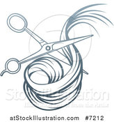 Vector Illustration of a Blue Gradient Scissors Cutting Hair by AtStockIllustration