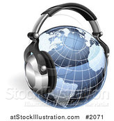 Vector Illustration of a Blue Grid Globe with Headphones by AtStockIllustration