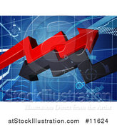 Vector Illustration of a Blue Grid with 3d Red and Black Profit and Loss Arrows by AtStockIllustration