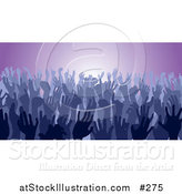 Vector Illustration of a Blue Group of Silhouetted Hands in a Crowd by AtStockIllustration