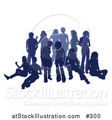 Vector Illustration of a Blue Group of Silhouetted People Hanging out in a Crowd by AtStockIllustration