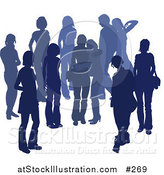 Vector Illustration of a Blue Group of Silhouetted People Hanging out in a Crowd, Two Friends Embracing in the Middle by AtStockIllustration