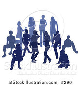 Vector Illustration of a Blue Group of Silhouetted People in a Crowd by AtStockIllustration