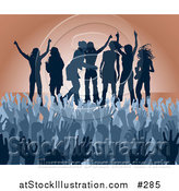 Vector Illustration of a Blue Group of Silhouetted Women Raising Their Arms and Celebrating on Stage at a Concert by AtStockIllustration