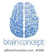 Vector Illustration of a Blue Half Human, Half Artificial Intelligence Circuit Board Brain over Sample Text by AtStockIllustration