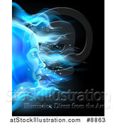 Vector Illustration of a Blue Ice or Fire Female Face over Black by AtStockIllustration