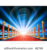 Vector Illustration of a Blue Light Shining over a Red Carpet by AtStockIllustration