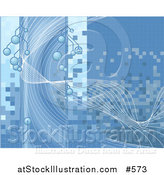 Vector Illustration of a Blue Lines, Tiles and Bubblesbackground by AtStockIllustration