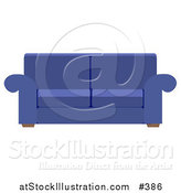 Vector Illustration of a Blue Living Room Sofa by AtStockIllustration