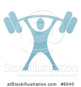 Vector Illustration of a Blue Man Lifting a Heavy Barbell over His Head by AtStockIllustration